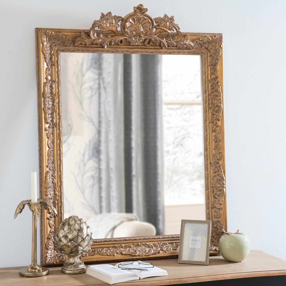 miroir sculpt en paulownia dor 75x100cm dorinda deco pinterest miroirs parfait et objet. Black Bedroom Furniture Sets. Home Design Ideas