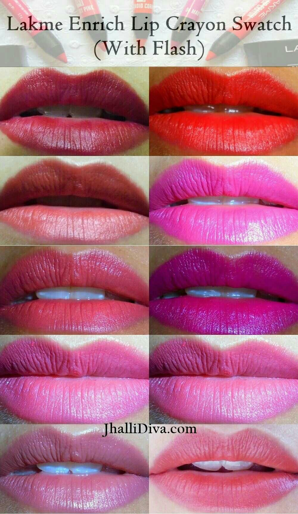 Lakme Enrich Lip Crayon Review Swatches Price All 10 Shades