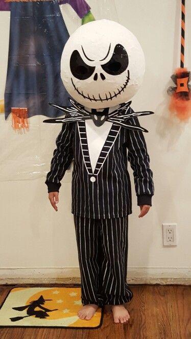 Jack Skellington DIY Costume Paper mache mask long sleeve shirt black sweatpants & Jack Skellington DIY Costume Paper mache mask long sleeve shirt ...