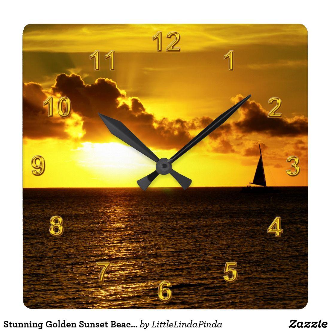 Stunning Golden Sunset Beach Clocks or YOUR IMAGE | Beach wall decor ...