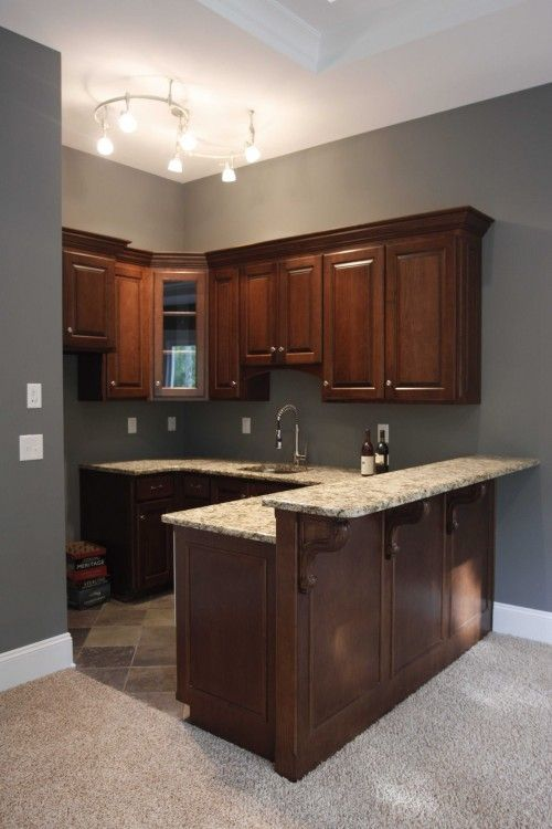 lower level bar, i love the paint color w/ cherry wood trim! | Paint ...