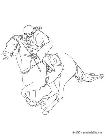 Jockey On A Galloping Horse Coloring Page More Sports Pages Hellokids