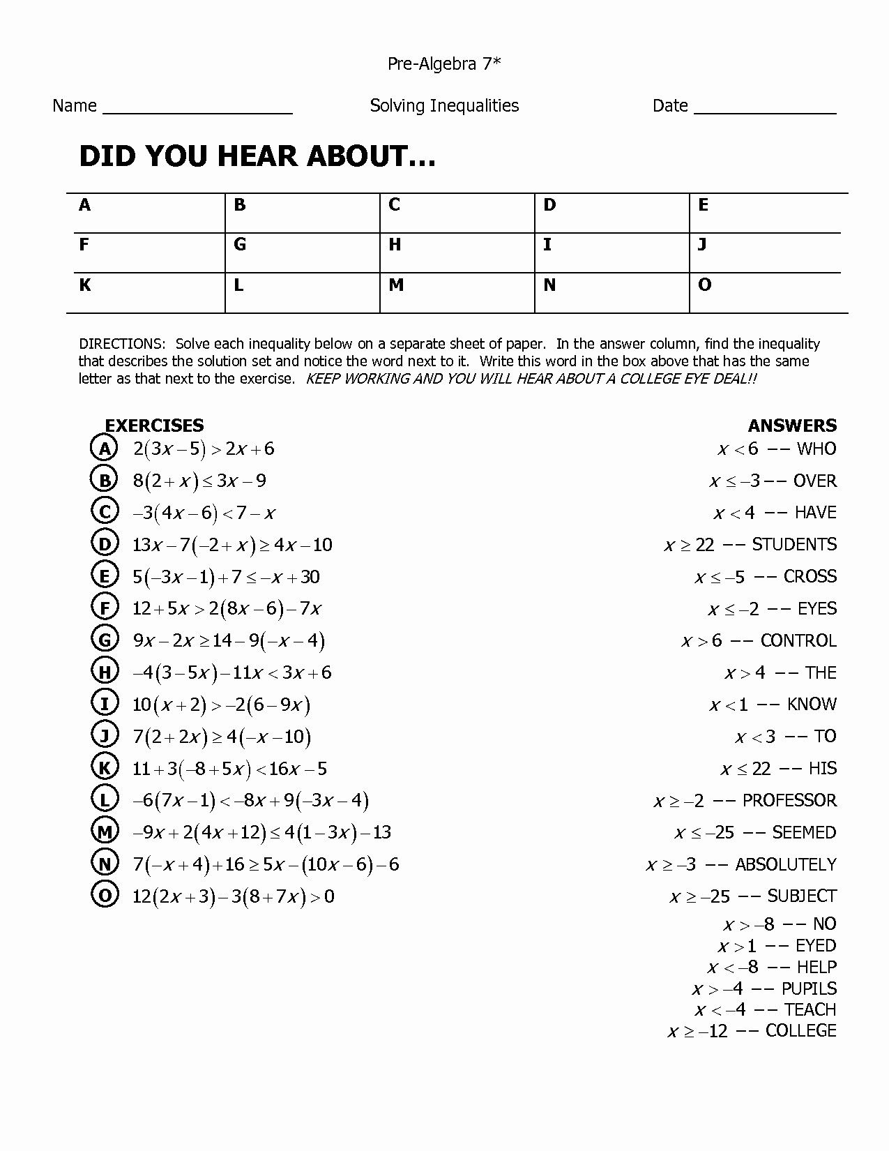 Algebra Help Links Did You Hear About Math Worksheet