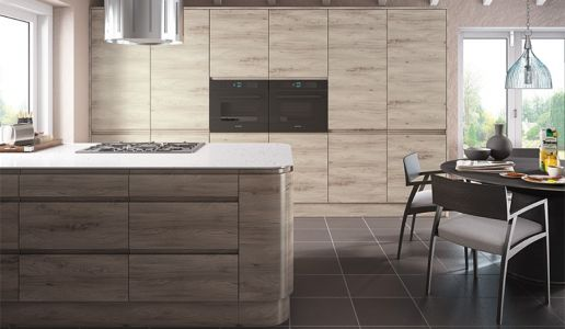 Elm wood kitchen in a contemporary j pull handleless style wood malton stone elm j handle kitchen j handle kitchens kitchen gallery do it yourself kitchens diy kitchens to your door solutioingenieria Image collections