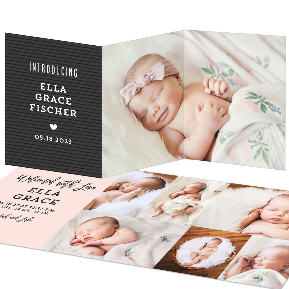 Letterboard Trifold Birth Announcements Pear Tree in