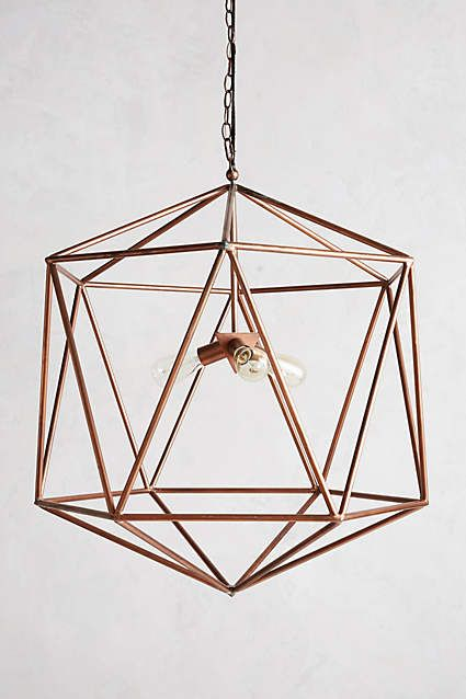 Chandelier Copper Lighting Geometric Light Fixture Geometric