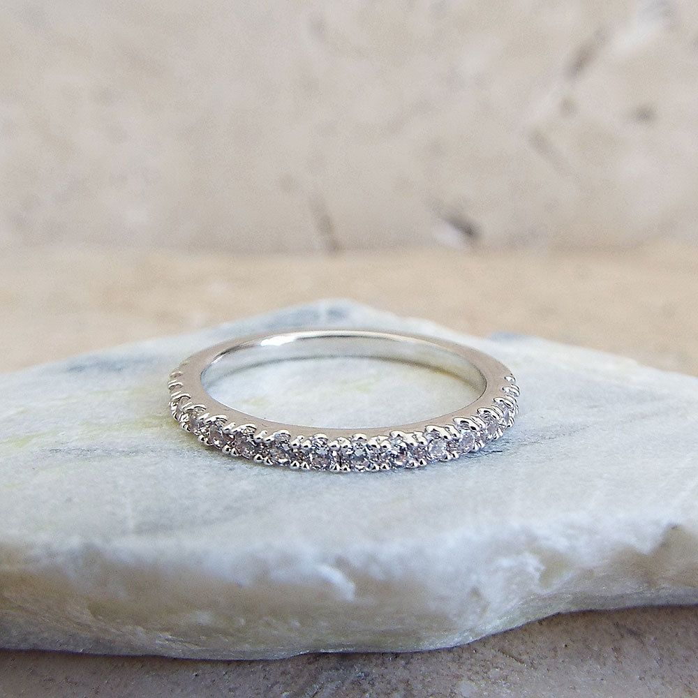 Eternity Ring 1 5 Mm White Gold Plated High Quality Cz Diamond Stacking Half Rhodium