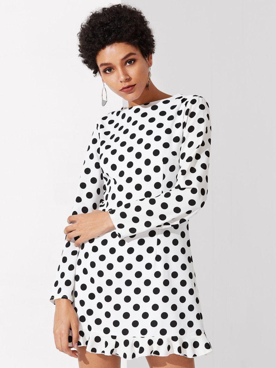 ce5cdf99be Princess Seam Detail Ruffle Hem Polka Dot Dress -SheIn(Sheinside ...
