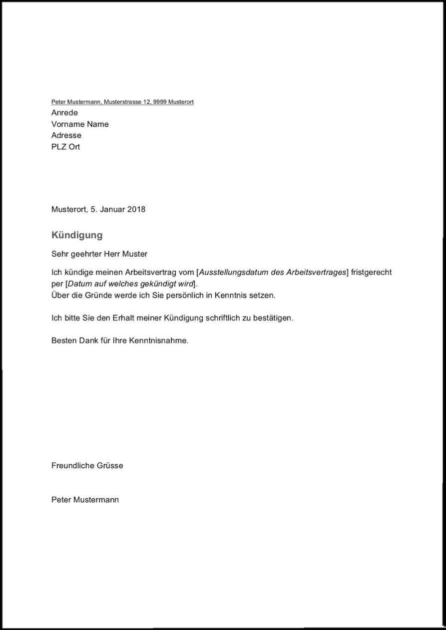 Kundigungsschreiben Vorlage Fur Arbeitnehmer 3