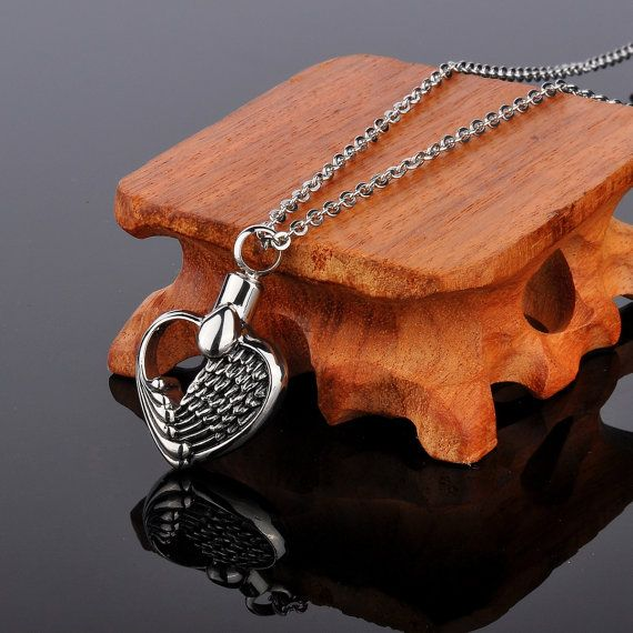 316L Surgical Stainless Steel Angel Wing Heart Cremation