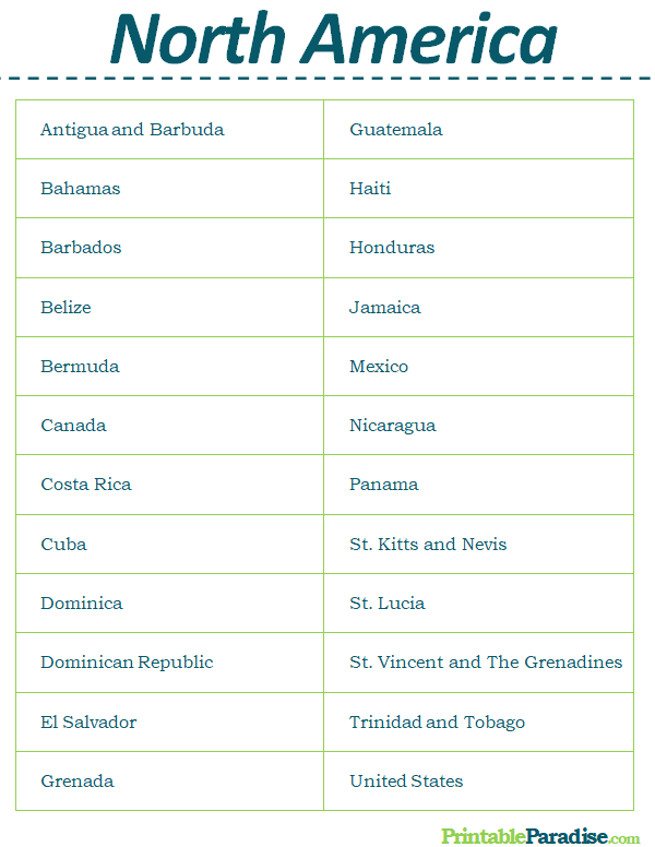 Printable List of Countries in North America