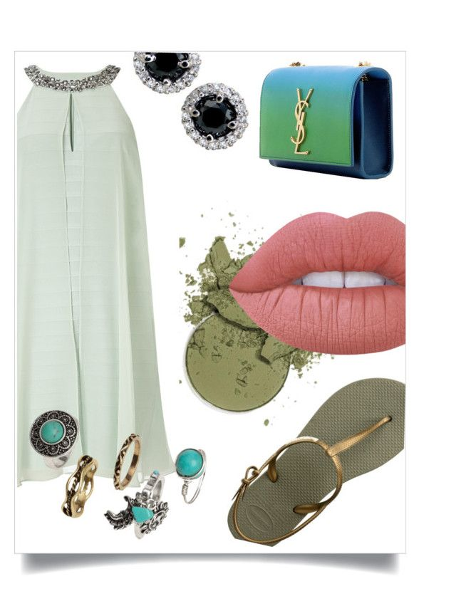 """""""Untitled #1"""" by maxineloveyou ❤ liked on Polyvore featuring Havaianas, Lime Crime, Adrianna Papell, H&M and Yves Saint Laurent"""