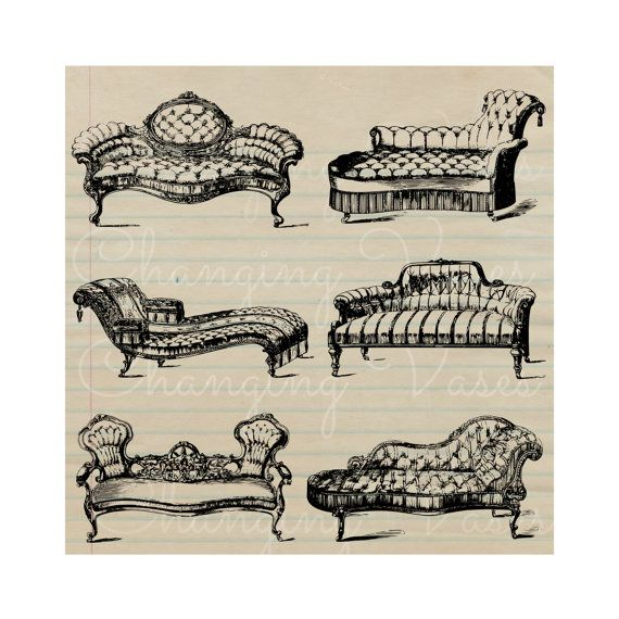 Vintage Chaise Lounge Sofas Digital Graphics Clip By ChangingVases, $2.00