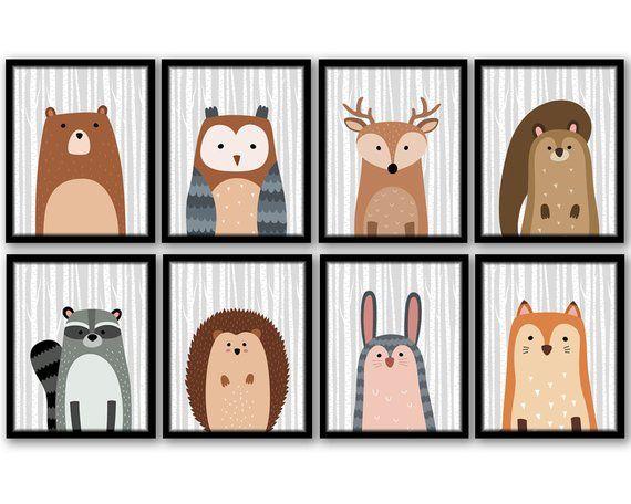 Woodland Forest Animals /& Birch Trees Printable Nursery Wall Art