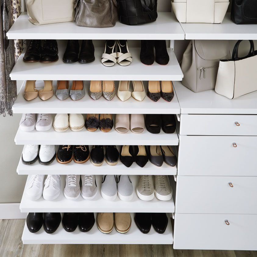 Big Shoe Collection That S No Problem For Elfa Design A Custom Solution Based On Your Space And Needs Closet Planning No Closet Solutions Walk In Closet