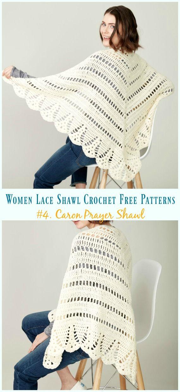 Caron Prayer Shawl Crochet Free Pattern - Women Lace Shawl