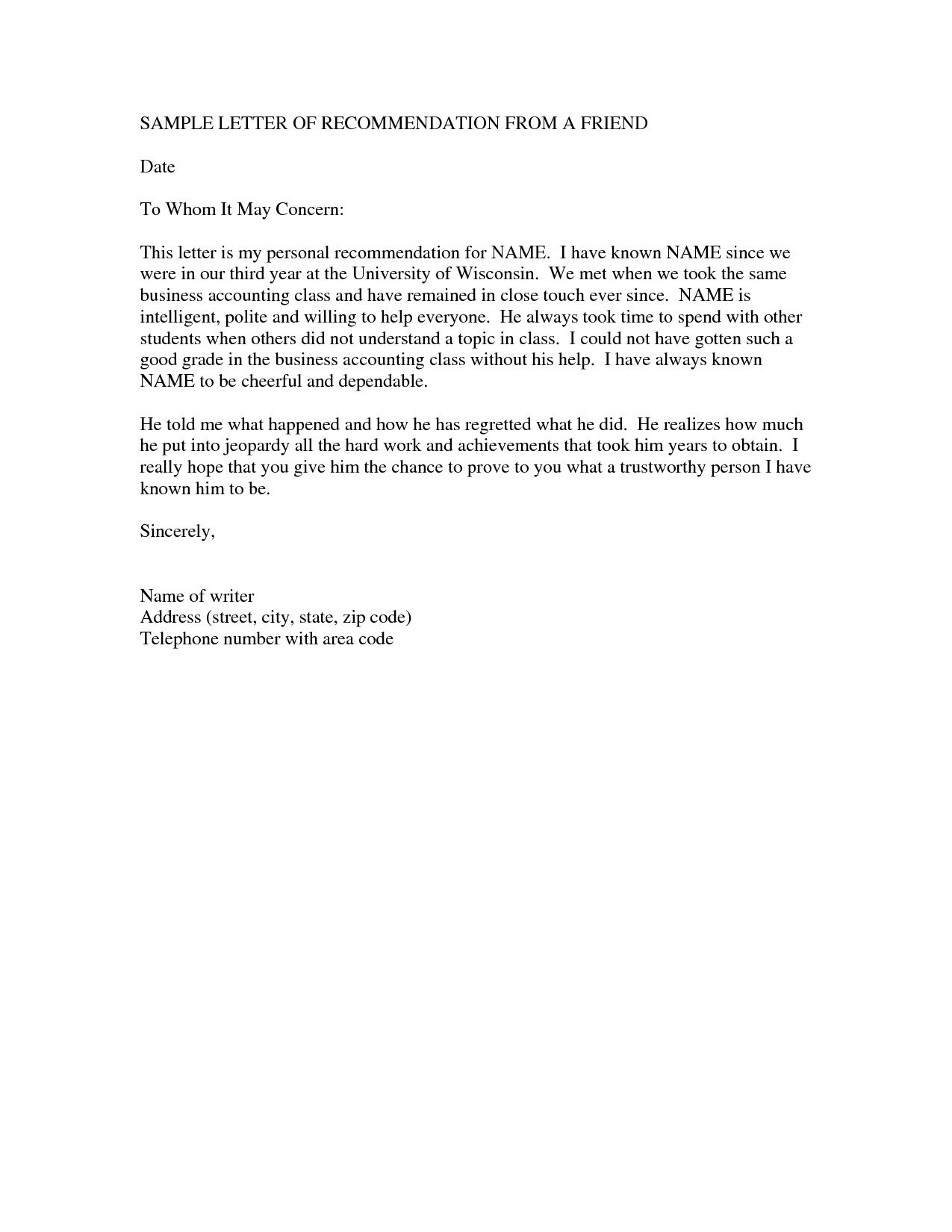 Reference Letter Examples For A Friend Online Business – Sample Reference Letter for Business