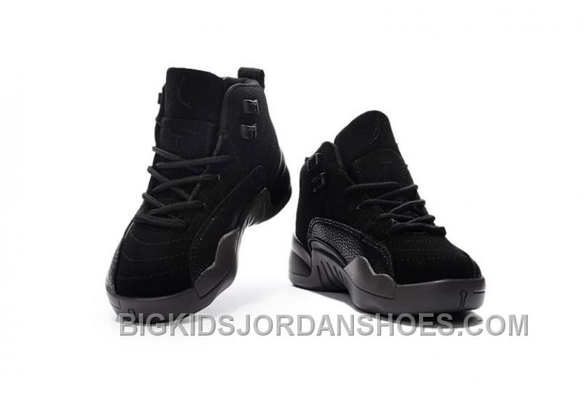 hot sale online 25397 53633 2016 Nike Air Jordan 12 XII Kids Basketball Shoes All Black Child Sneakers  Discount