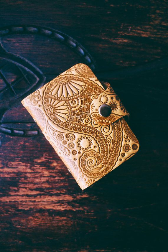 Leather business card holder. Paisley pattern emboss wallet. Yellow ...