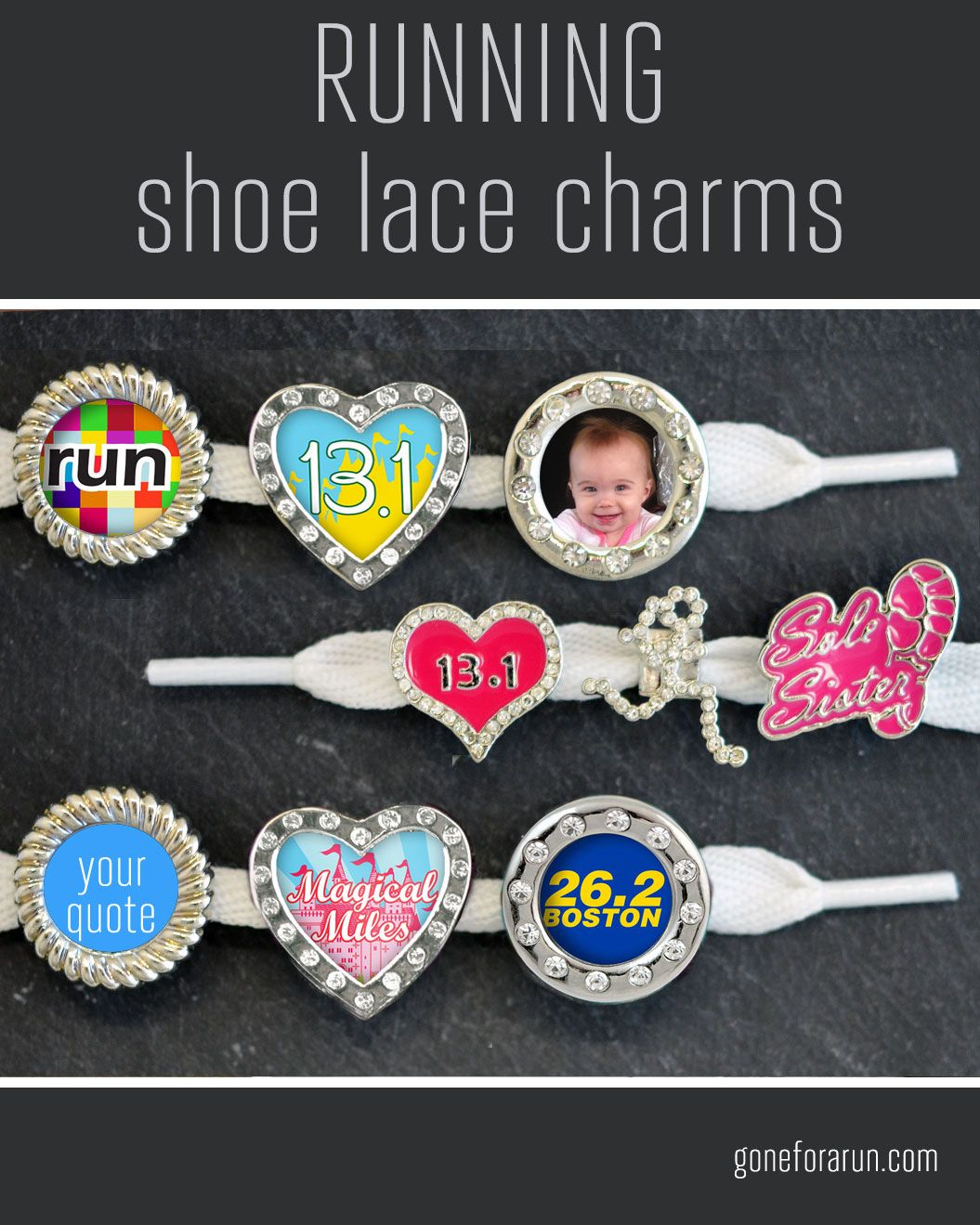 Running shoe lace charms. Largest selection and highest quality shoe  charms. Motivational and inspirational