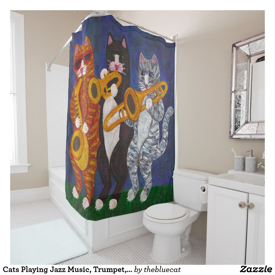 Cats Playing Jazz Music, Trumpet, Trombone and Sax Shower Curtain ...