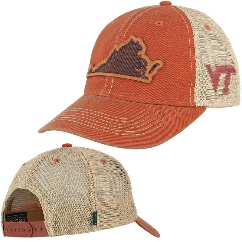 Virginia Tech State Trucker Hat Orange by Legacy
