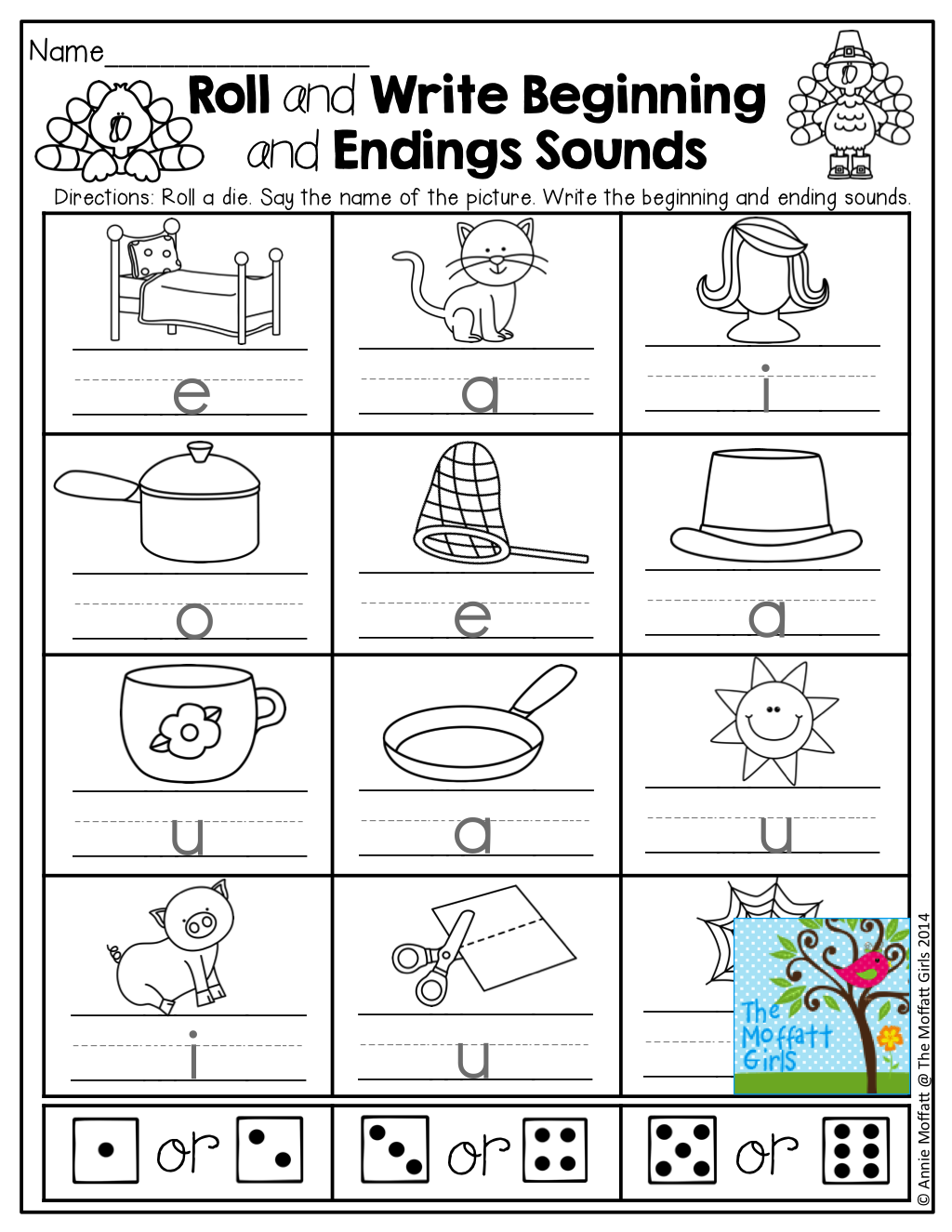 cvc words beginning and ending sounds roll a die and write the