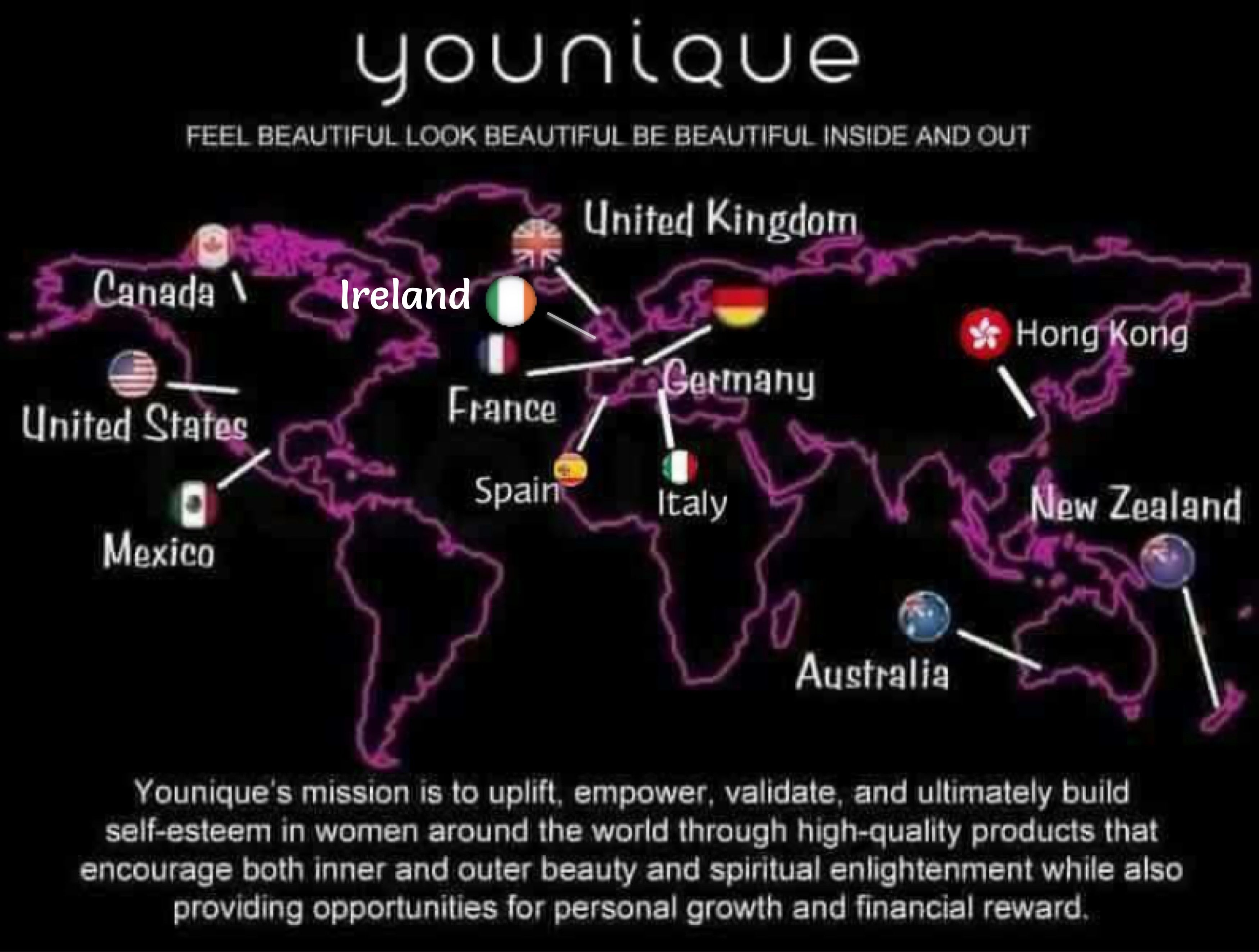 Younique Presenters Map Canada Younique Products are available in USA, Canada, Mexico, UK