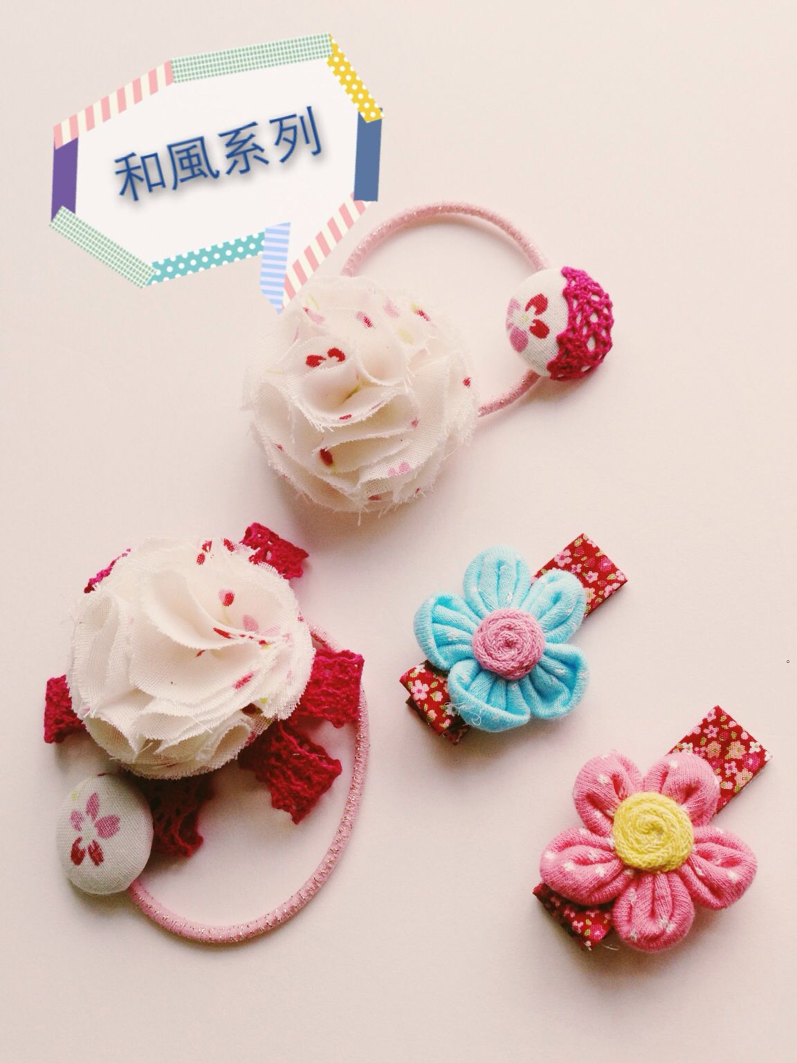 handmade clips and pony loop in japanese style my handmade craft