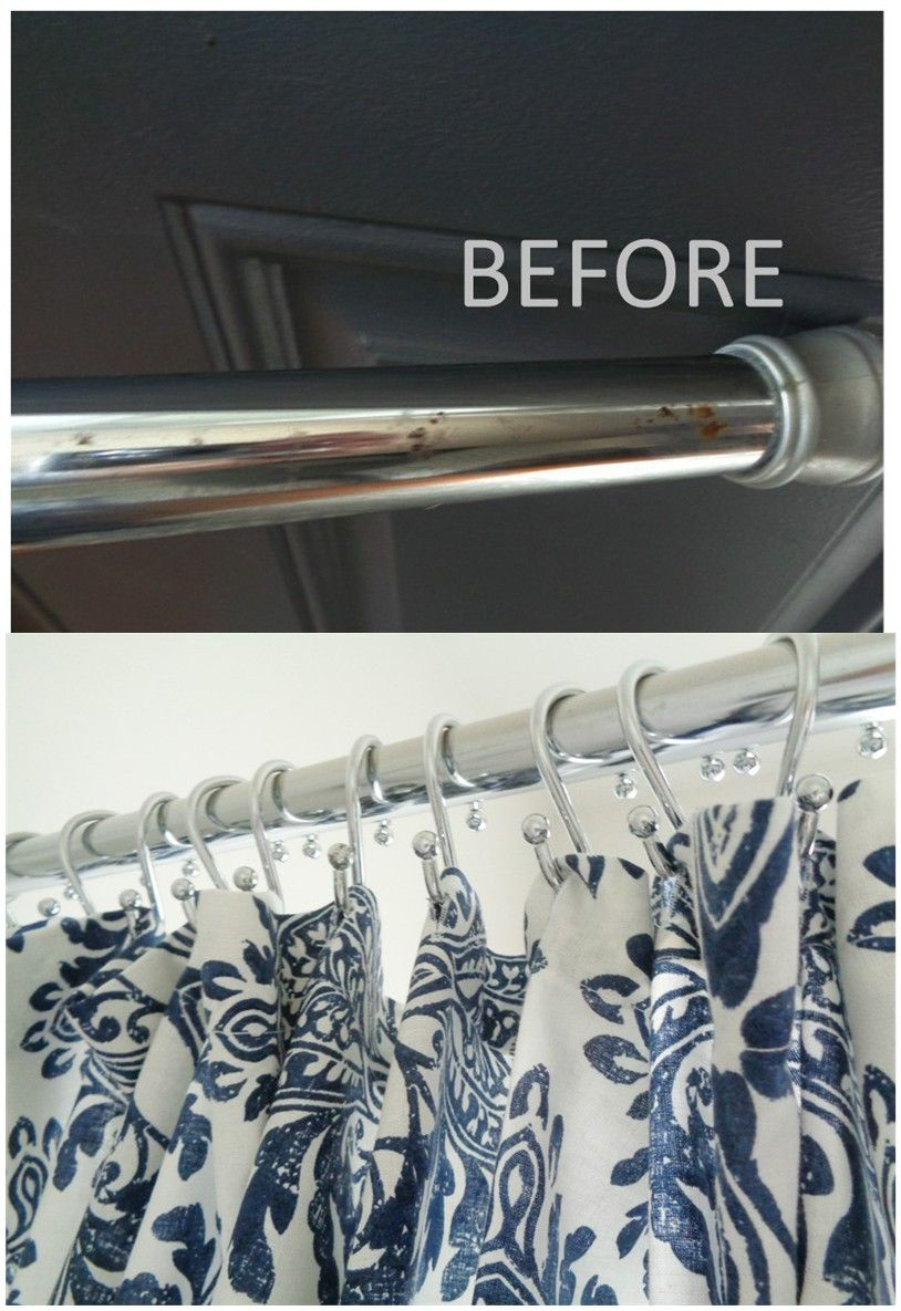 Remove Rust From Shower Curtain Rod Using Soapy Steel Wool Pad