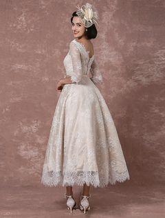 Spitze Brautkleid Kurz Vintage Hochzeitskleid Champagner Halblangen