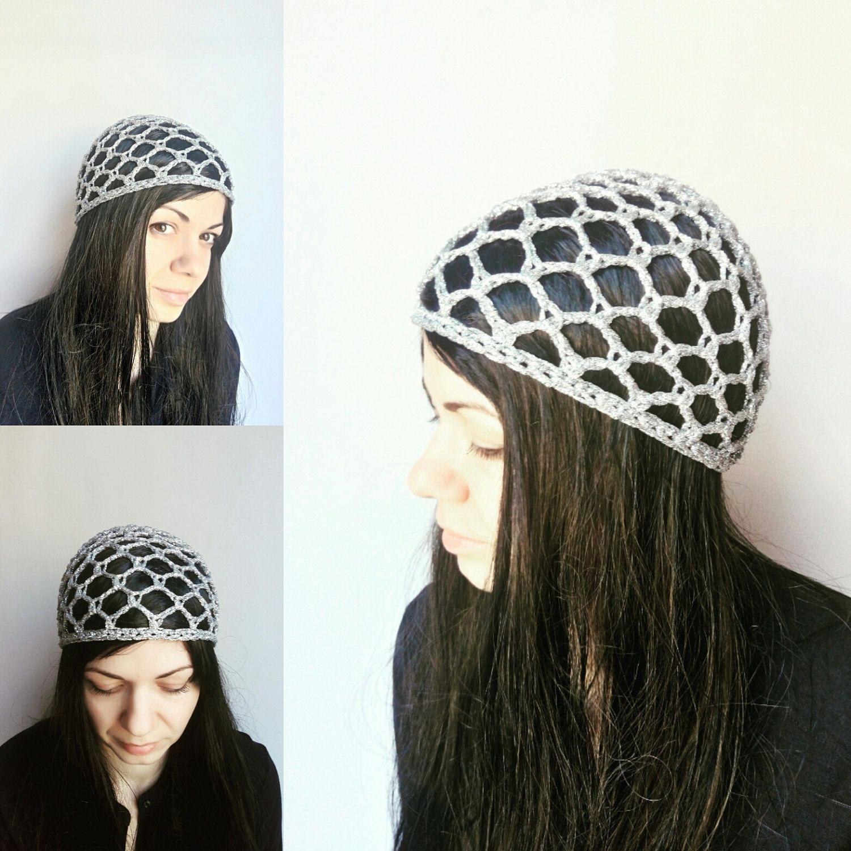 5eeae1ff821f2 Silver mesh beanie Lace Crochet hat - Sparkly summer beanie hat-women  CROCHET CAP  hats