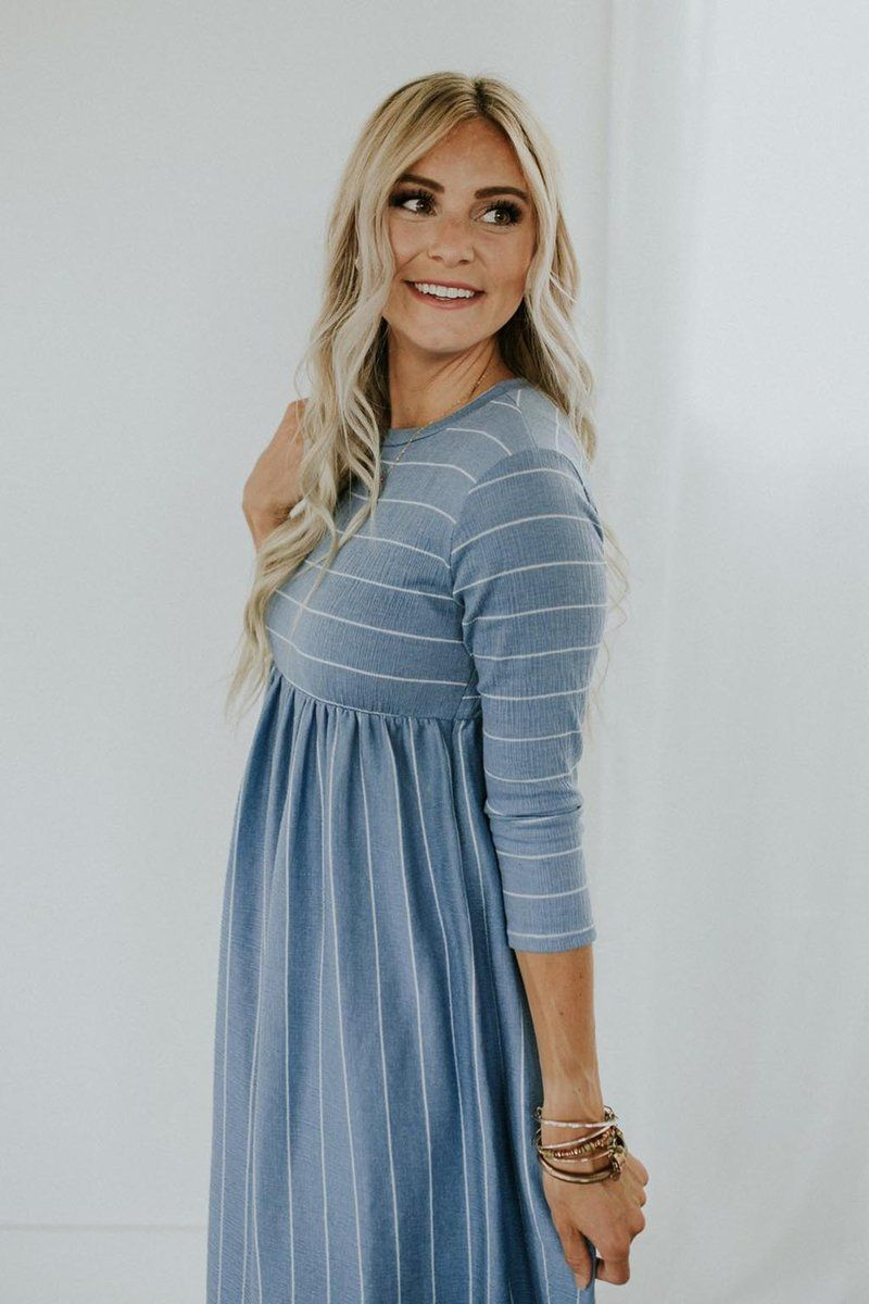 2112ed524f ROOLEE Sky Blue with White Stripes 3 4 Sleeves Available in Ivory ...