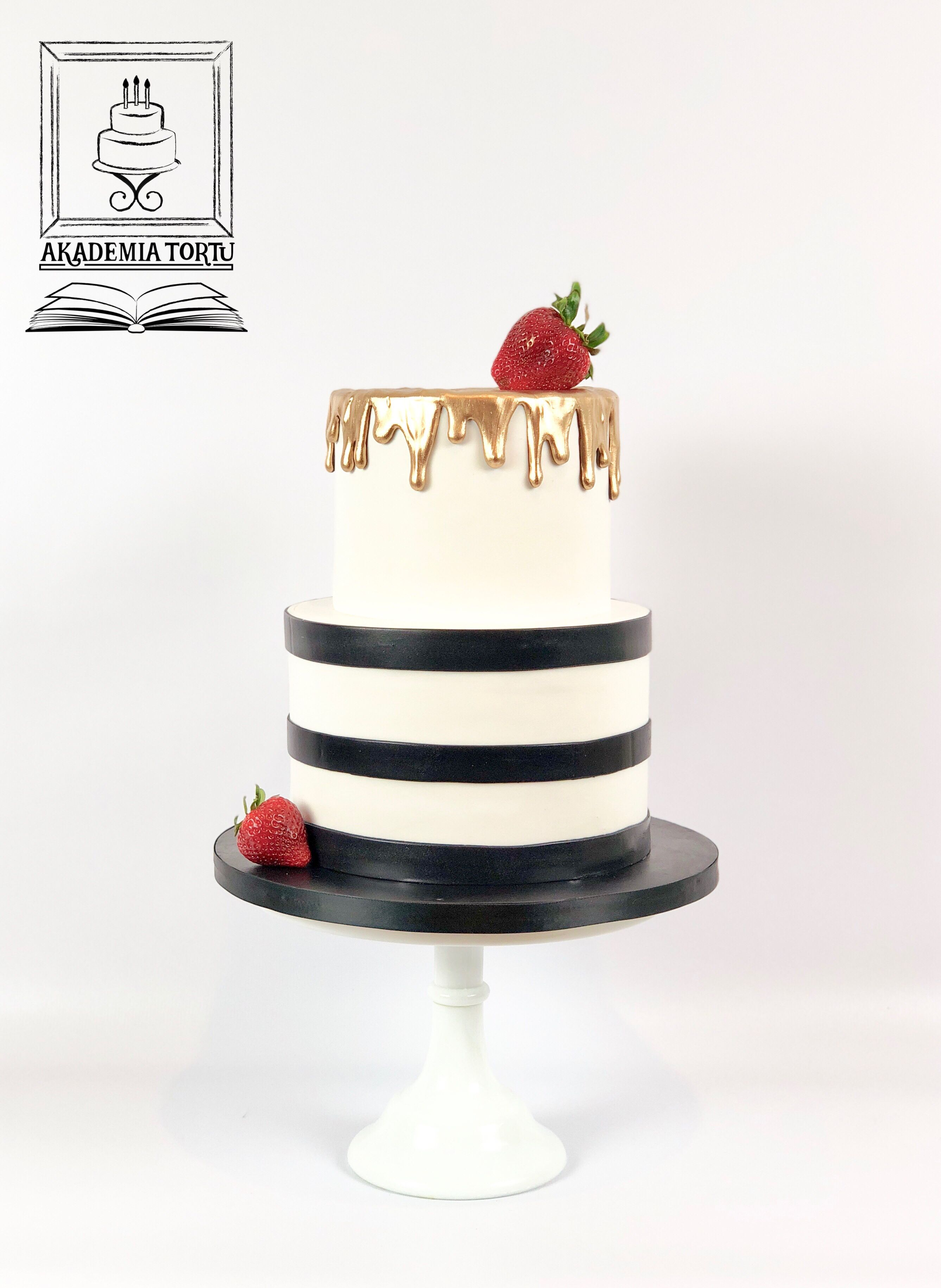 Stripes Golden Drip And Strawberries Birthday Cake With Images
