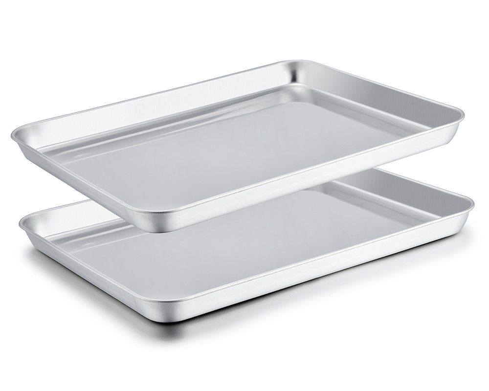 Teamfar Baking Sheet Set Of 2 Stainless Steel Baking Pans Tray Cookie Sheet Non Toxic And Healthy Mi Easy Cleaning Clean Dishwasher Home Interiors And Gifts