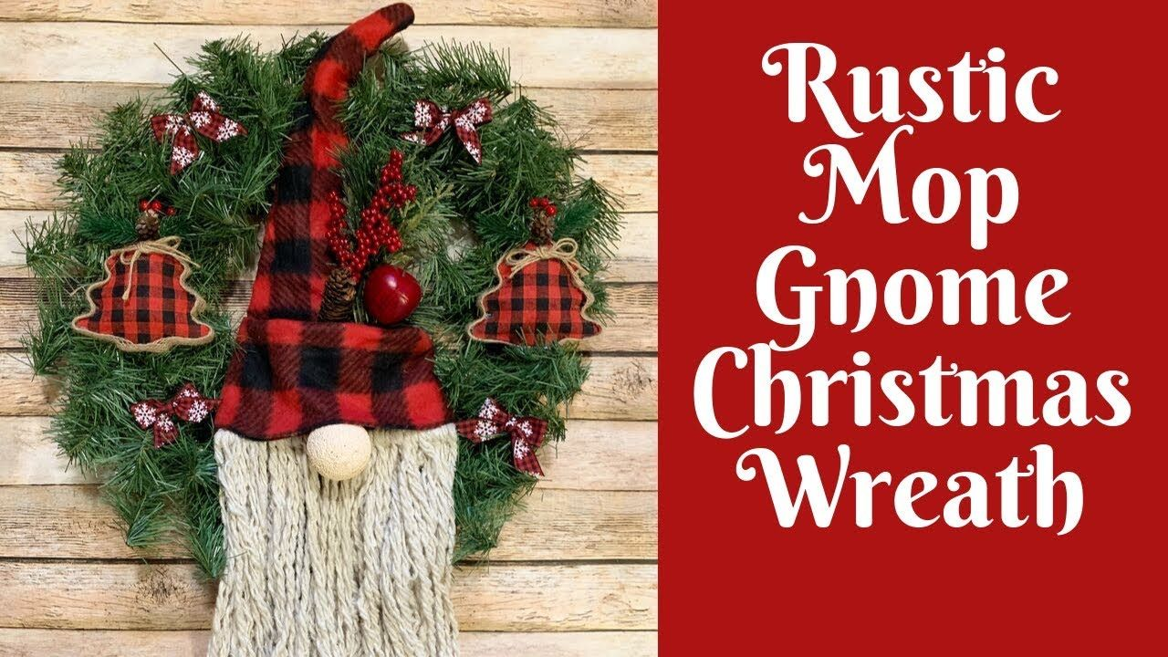 Dollar Tree Christmas Crafts Dollar Tree Mop Gnome Wreath