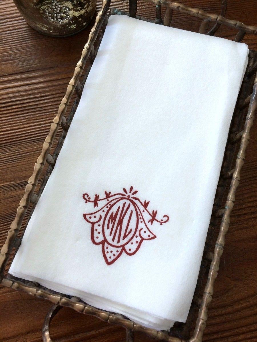 Monogrammed Paper Guest Towels Paper Guest Hand Towels