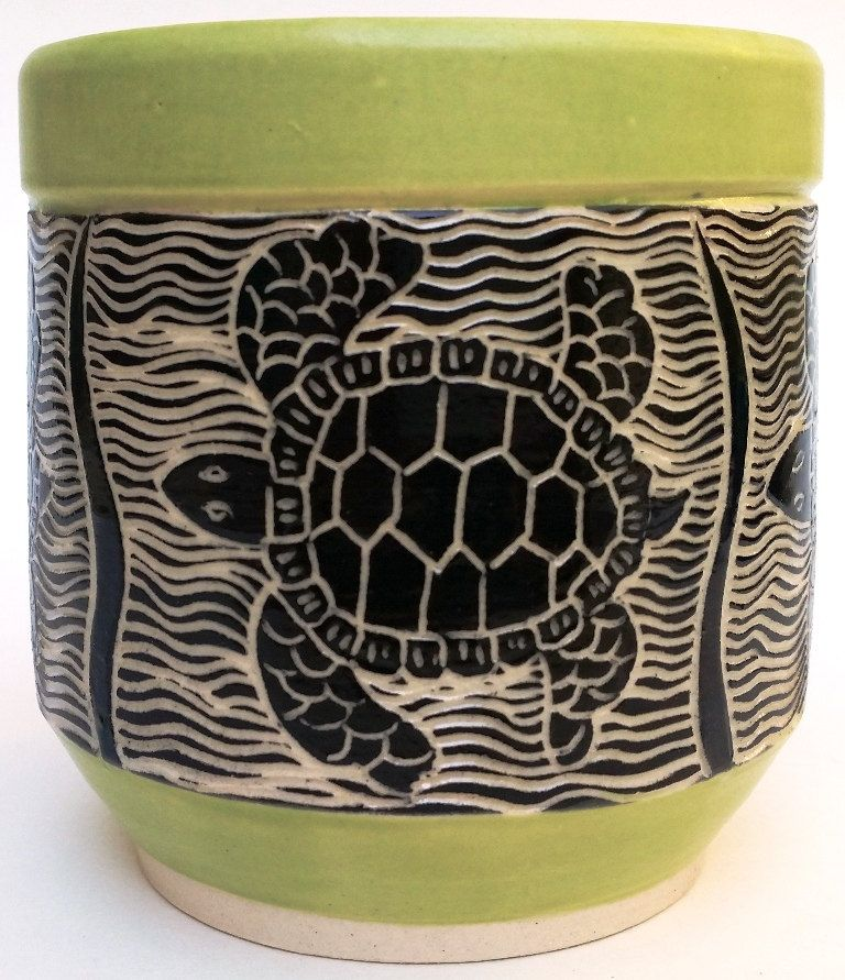 Ceramic Tumbler Juice Cup Yunomi Sea Turtle Sgraffito
