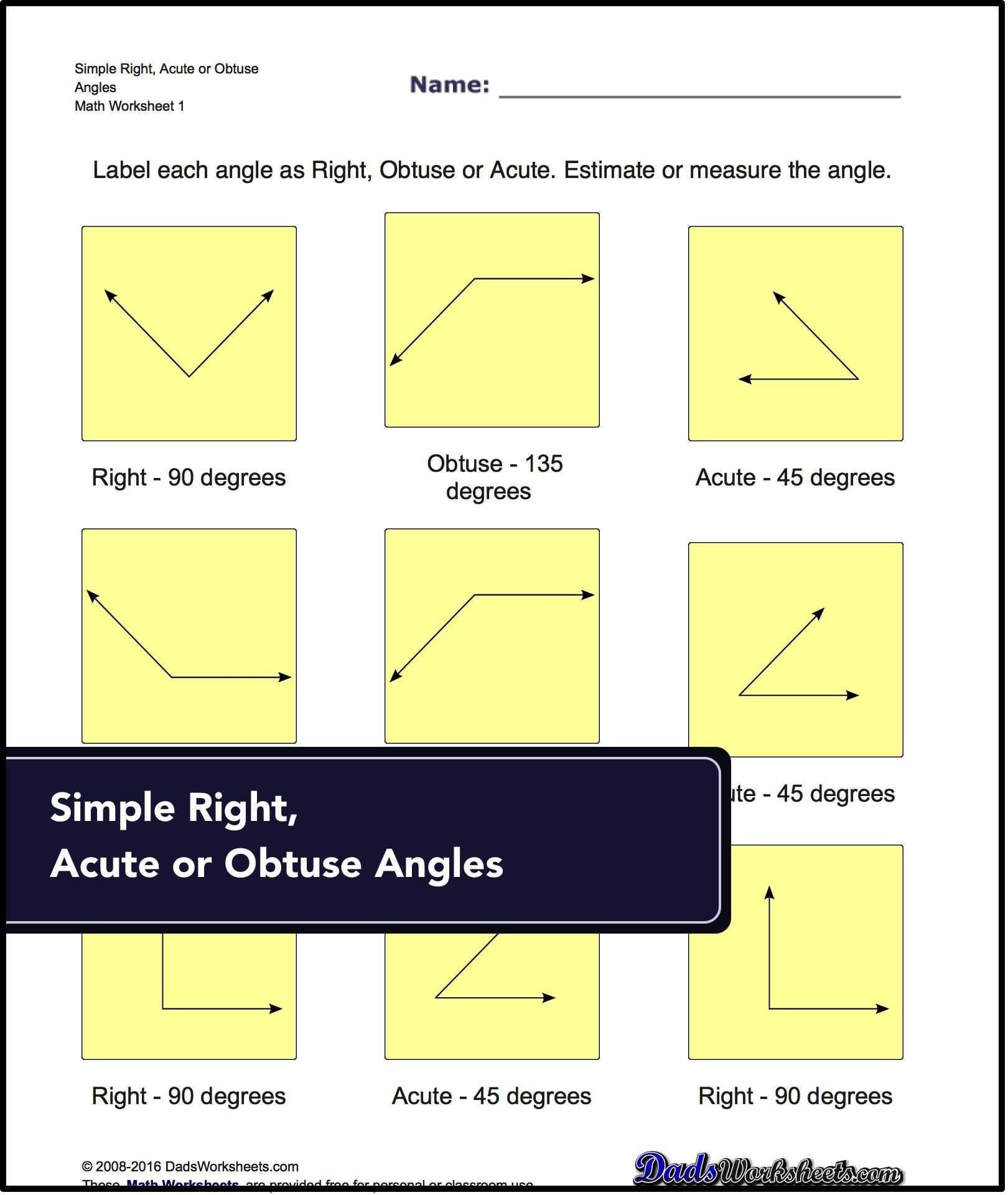 Basic Geometry Worksheets Topics covered: angular measurement,  complementary and suplementary angles, measurement of