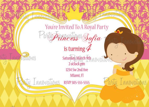 Printable princess belle birthday party invitation plus free blank printable princess belle birthday party invitation plus free thank you card filmwisefo