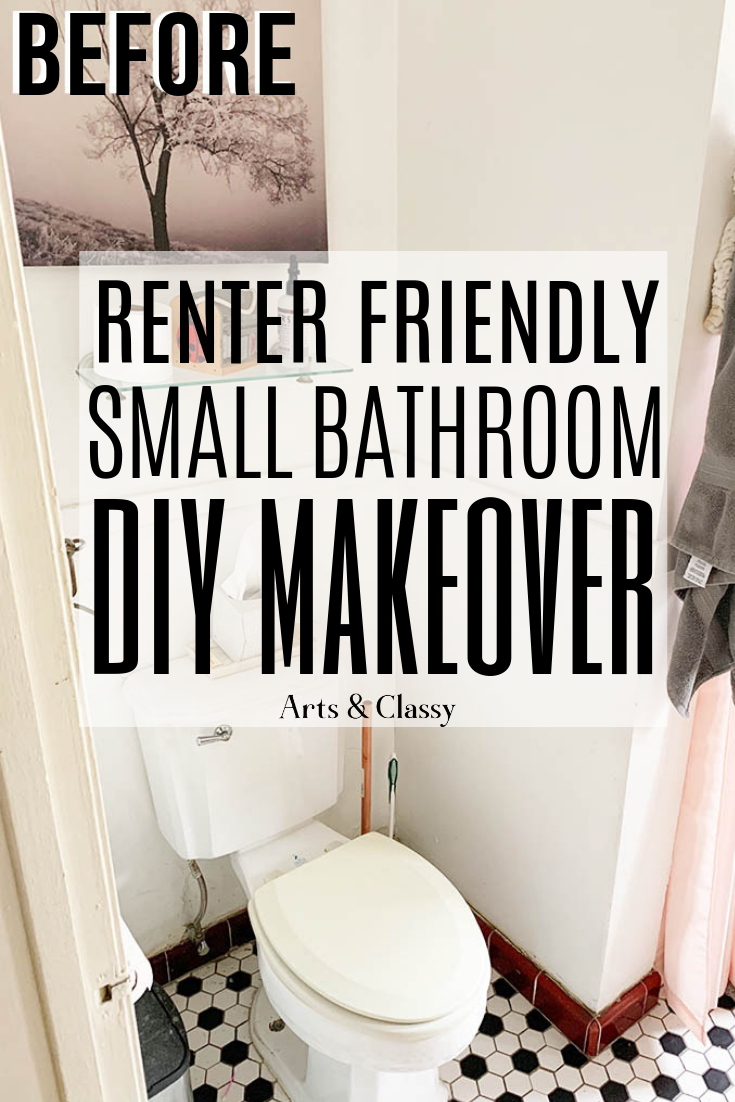 Chic Rental Bathroom Makeover Tutorial Arts And Classy Rental Bathroom Makeover Small Rental Bathroom Small Bathroom Diy
