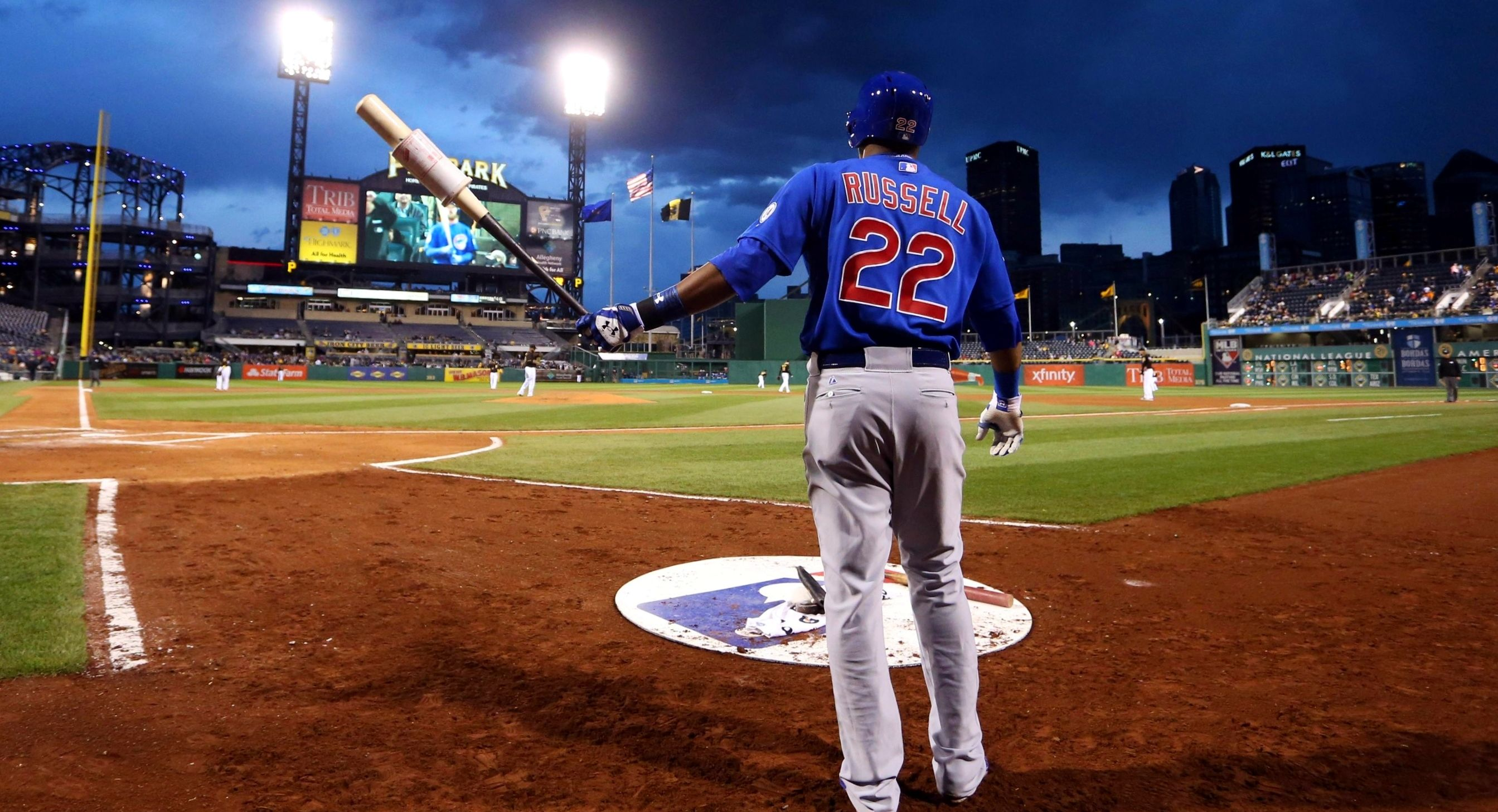 Addison Russell Of The Chicago Cubs In The On Deck Circle At Pittsburgh S Pnc Park Mlb Baseball Mlb Pnc Park