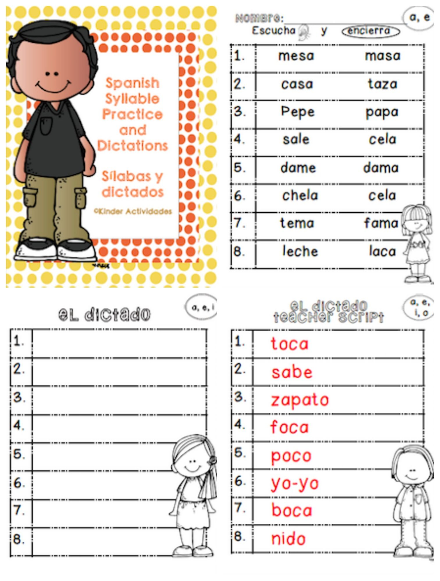 Reading Spanish Syllables Silabas