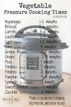 Pressure Cooker Vegetable Cooking Times - Kitchen Joy®️️
