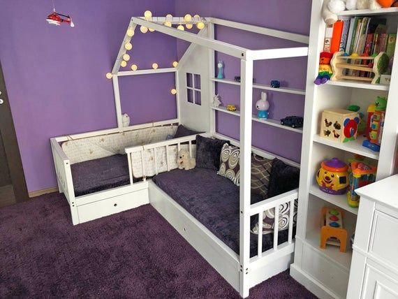 Photo of L-Shape nook double bed with reading sofa/sleeping bed and drawers, shelves, Montessori house bed