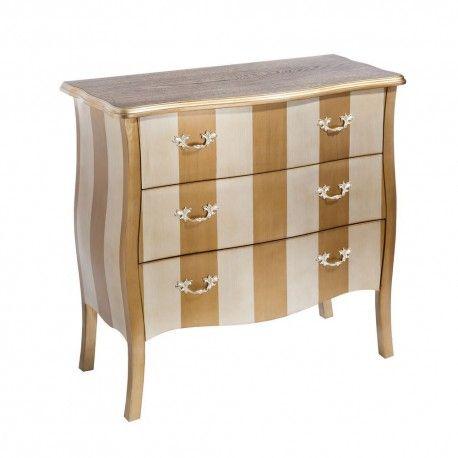 Cómoda 3 cajones madera champán plata Luxury   Muebles de LUJO ...