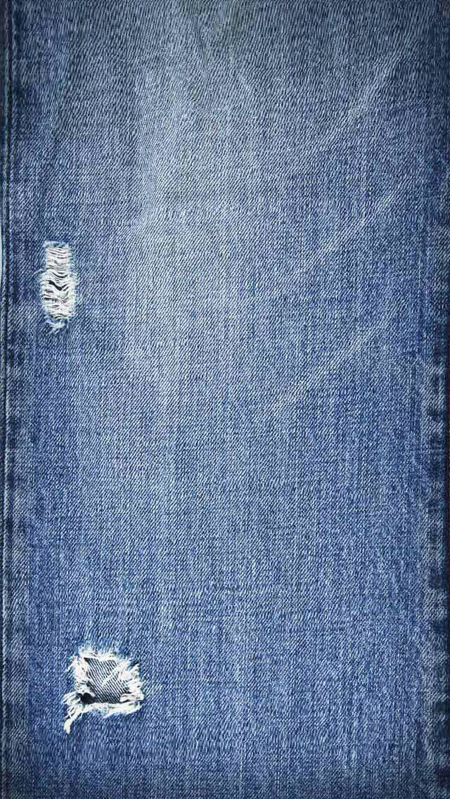 Blue Jeans Stone Washed Frayed Fabric