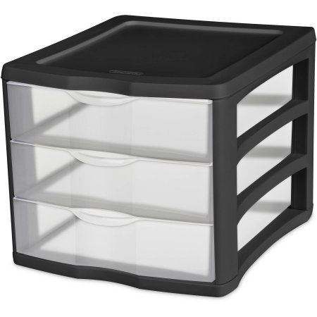 Sterilite   Drawer Desktop Unit Black With Clear Drawers