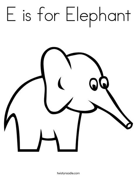 E For Elephant Coloring Pages