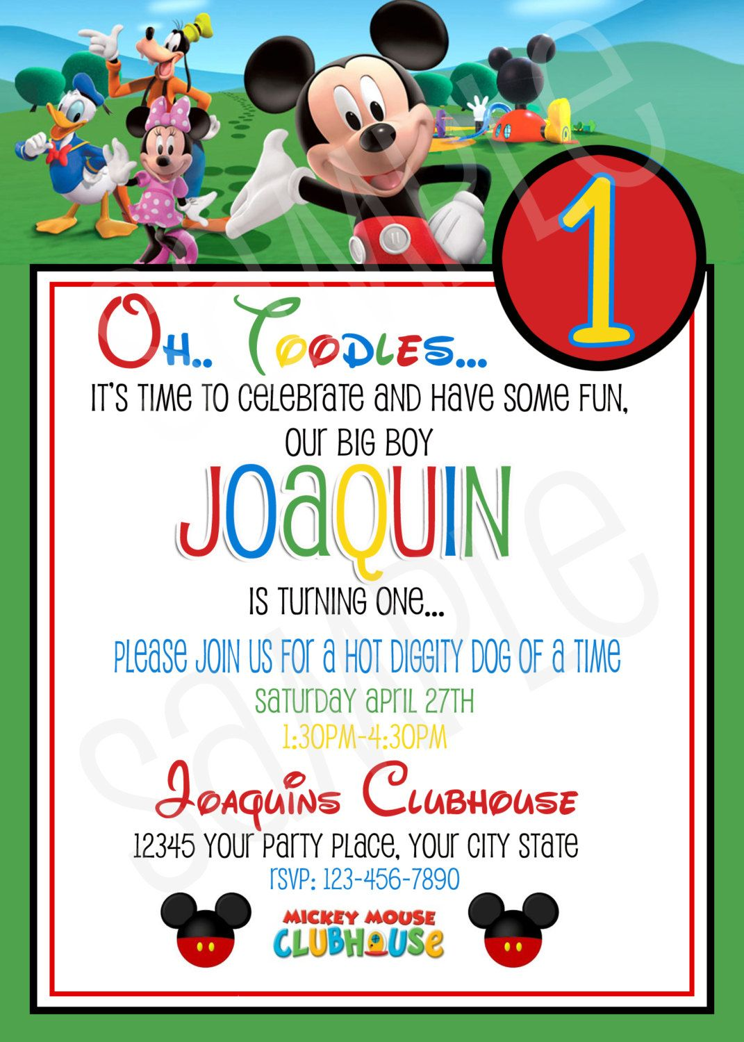 Mickey Mouse Clubhouse Birthday Invitation Printable Mickey